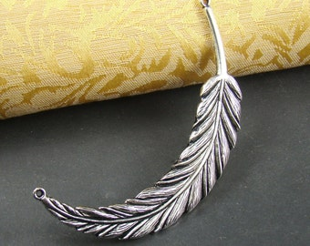 50% OFF SALE - 4pcs Huge 95mm Antique Silver Feather Pendant Charm Pendanr Connector AY608