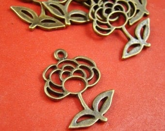 CLEARANCE SALE - 10pcs 25X19Mm Antique Bronze Rose Flower Charm Pendant Ab374
