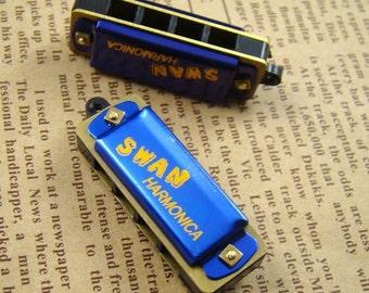 10pcs Blue Vintage Style Harmonica Necklace Pendant HC003