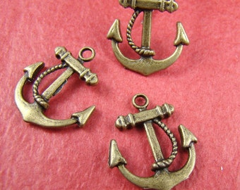 50% OFF SALE - 6PCS 23Mm Antique Bronze Anchor Charm Drop Pendant Ab970