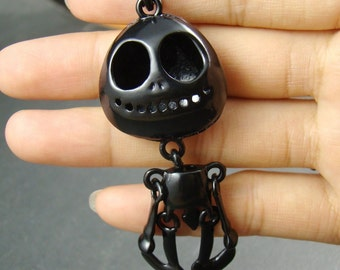 50% OFF SALE - 2pcs 75x30mm Black Skull Jack Charm Drop Pendant BT802