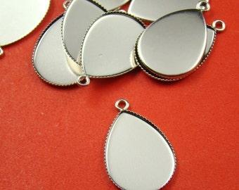 100PCS 25X18MM Silver Teardrop Gemstones Cameo Or Cab Victorian Setting Charm Bs263