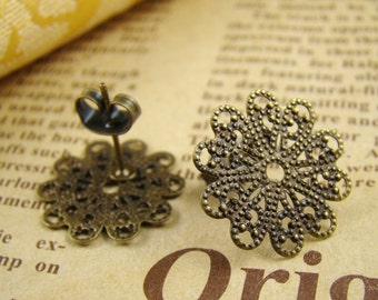 10PCS 16MM Antique Bronze Filigree  Earring Studs, Earring Posts With Back Stoppers EA350