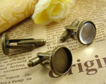 4pcs Antique Bronze Nickel-free Cuff Links With 12mm Base Setting HA605