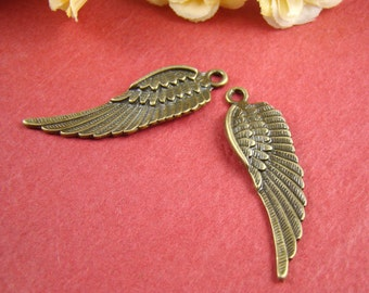 50% OFF SALE - 6pcs 59X22mm Antique Bronze Angel Wing Charm Pendant Ab199