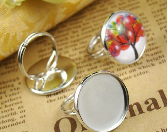 10PCS Silver Ring With 20MM Round Base Setting RI437