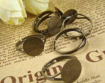 10PCS Antique Bronze Brass Nickel Free Adjustable Base Ring With 13MM Pad RI210