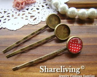 100pcs Antique Bronze Bobby Pin With 12mm Cameo Base Setting HA181