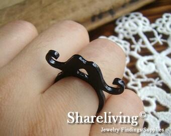 2pcs 28mm Antique Black Enamel Mustache Rings RI704