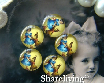 Glass Cabochon, 8mm 10mm 12mm 14mm 16mm 20mm 25mm 30mm Round Handmade photo glass Cabochons (Rabbit)  -- BCH088A
