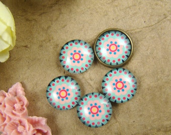 Glass Cabochon, 8mm 10mm 12mm 14mm 16mm 20mm 25mm 30mm Round Handmade photo glass Cabochons - Flower Collection BCH020G