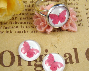 Glass Cabochon, 8mm 10mm 12mm 14mm 16mm 20mm 25mm 30mm Round Handmade photo glass Cabochons - Butterfly Collection BCH008N