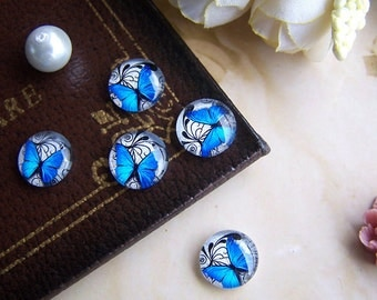Glass Cabochon, 8mm 10mm 12mm 14mm 16mm 20mm 25mm 30mm Round Handmade photo glass Cabochons - Butterfly BCH029C