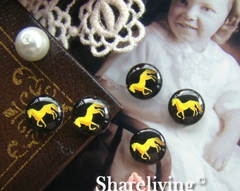 Glass Cabochon, 8mm 10mm 12mm 14mm 16mm 20mm 25mm 30mm Round Handmade photo glass Cabochons (Horse)  - BCH055E
