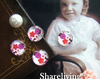 Time Limited Offer - 20% OFF - 10pcs 12mm Handmade Photo Glass Cabochon / Wooden Cabochon (Cherry) - BCH053G