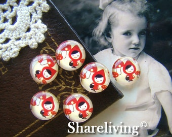 Glass Cabochon, 8mm 10mm 12mm 14mm 16mm 20mm 25mm 30mm Round Handmade photo glass Cabochons  (Little Red Riding Hood) -- BCH012C