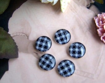 Glass Cabochon, 8mm 10mm 12mm 14mm 16mm 20mm 25mm 30mm Round Handmade photo glass Cabochons - Black N White BCH030D
