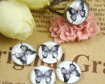 Glass Cabochon, 8mm 10mm 12mm 14mm 16mm 20mm 25mm 30mm Round Handmade photo glass Cabochons - Butterfly Collection BCH008D