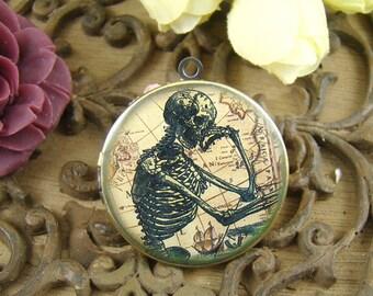 1pcs Vintage Skeleton Locket Antique Bronze Brass Photo Locket Charm Pendant 32mm 25mm 20mm Locket -  HLK009B