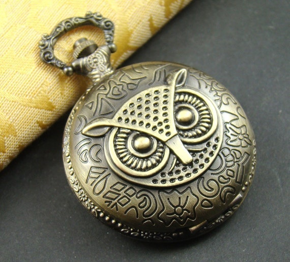 1pcs Antique Bronze Lovely Owl Locket Necklace Watch Pendant LK721