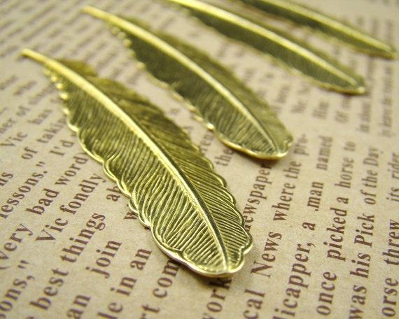 6PCS 53x13mm Raw Brass Feather Charm Pendant CWB602