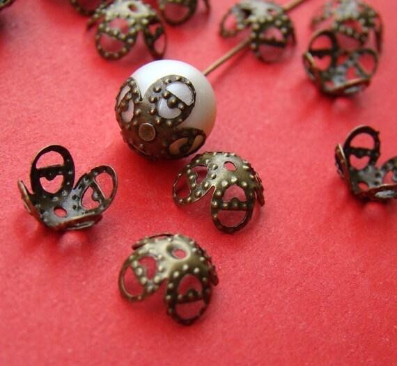 100pcs 10MM Antique Bronze Filigree Cone Beads Caps CAB051