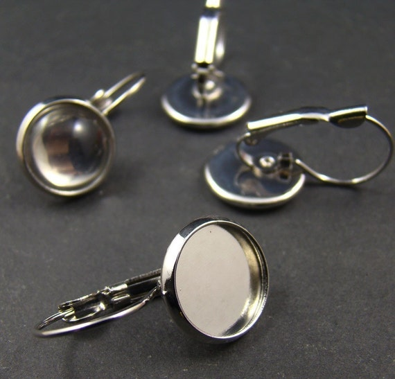 20pcs  Silver Tone French Earwires With 12mm Round Pad EA617