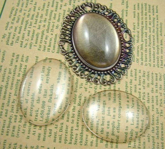 5pcs 40X30mm Glass Transparent Clear Oblate Cabochon Cameo Cover Cabs BCG011