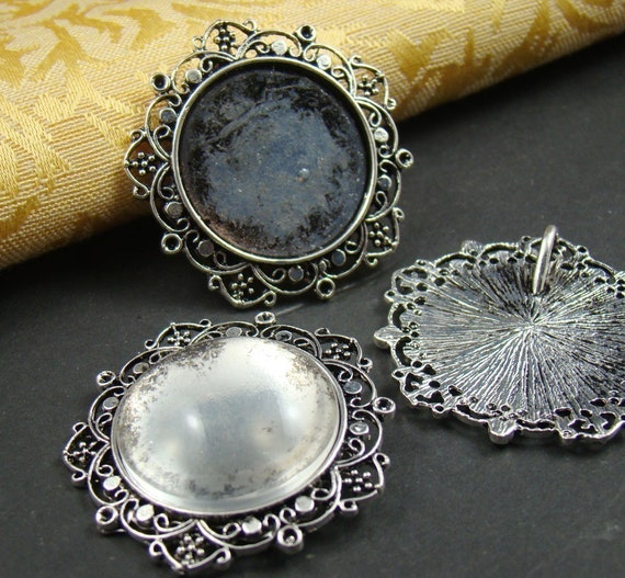 2PCS Antique Bronze Cameo Base Setting Pendant With Free 25MM Glass Cabochon AS120