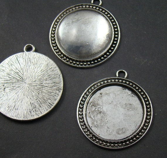 2pcs Antique Silver Cameo Base Settings Pendant With Free 30mm Glass Cabochon AS109