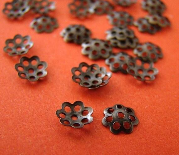 500pcs 6mm Antique Bronze Filigree Caps CAB005