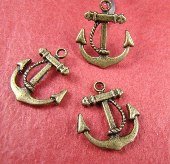 50% OFF SALE - 6PCS 23Mm Antique Bronze Anchor Charm Drop Pendant Ab970