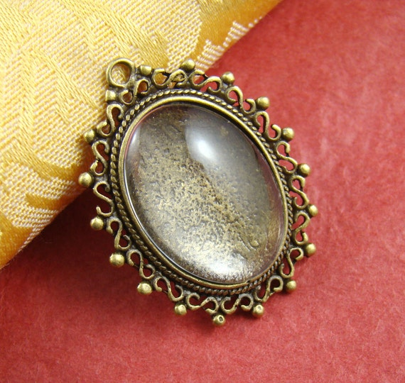 2PCS 30x24mm Antique Bronze Cameo Base Setting Pendant With Free 18X25MM Glass Cabochon As366