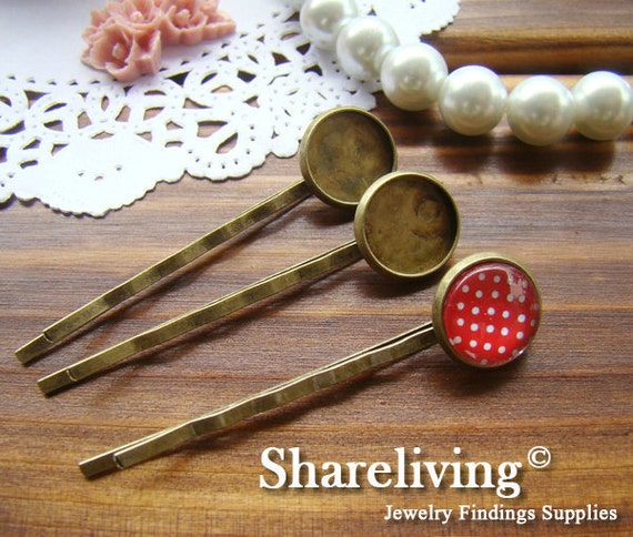 20pcs Antique Bronze Bobby Pin With 12mm Cameo Base Setting HA181
