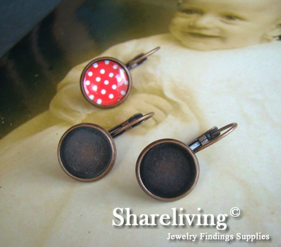 10pcs Antique Copper French Earwires Hook With Round 12mm Cameo Base Setting EA646