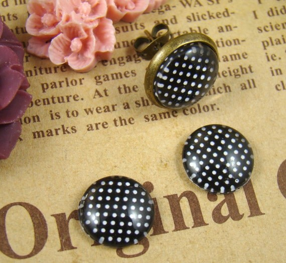 12mm Glass Dome, 8mm 10mm 14mm 16mm 20mm 25mm 30mm Round White Black Polka Dot glass Cabochon - BCH011D
