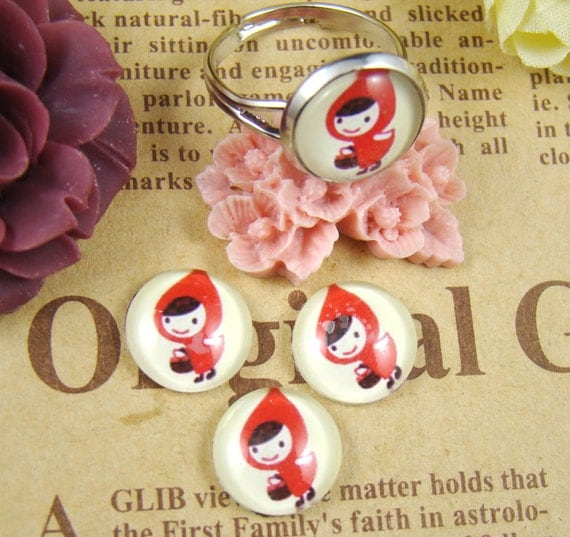 Glass Cabochon, 8mm 10mm 12mm 14mm 16mm 20mm 25mm 30mm Round Handmade photo glass Cabochons - Red Riding Hood Collection BCH012B