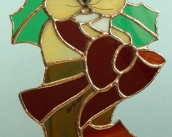 Stained Glass Cat in a Boot Suncatcher