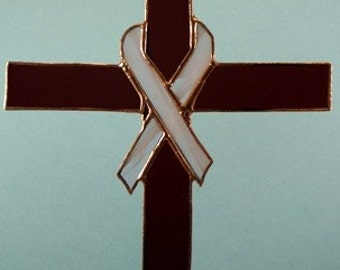 Stained Glass Cross with Pink Ribbon Suncatcher for Breast cancer Awareness