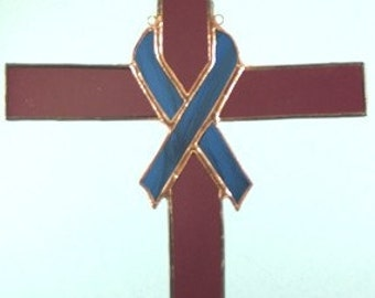 Stained Glass Cross with Blue Ribbon Suncatcher