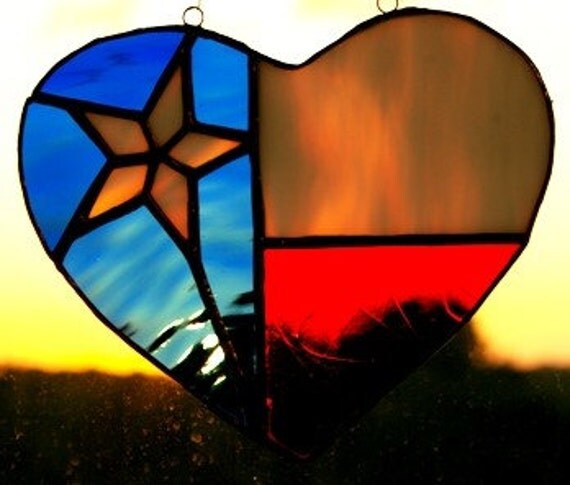 Stained Glass Texas Heart Sun Catcher at sunset