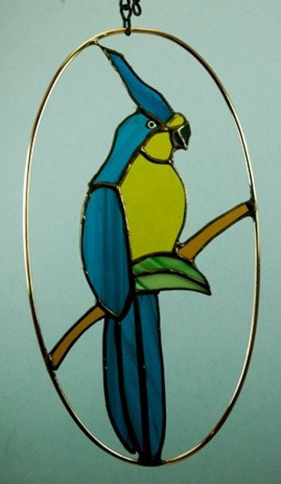 Stained Glass Blue and Gold Parrot Suncatcher