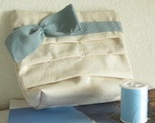 Bow Zippered Pouch Ivory Baby Blue Tones purse