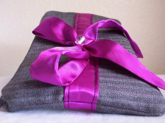 Pink Fuchsia Bow zippered bag