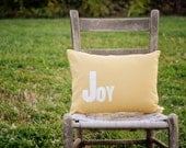 SALE - Joy - Christmas Pillow - 12 x 16 Removable Pillow Cover with Insert