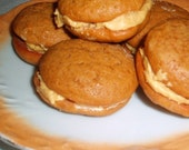8 mini ginger whoopie pies with ginger butter cream filling