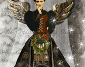 Steampunk Christmas Theater Digital Collage Greeting Card (Suitable for Framing)