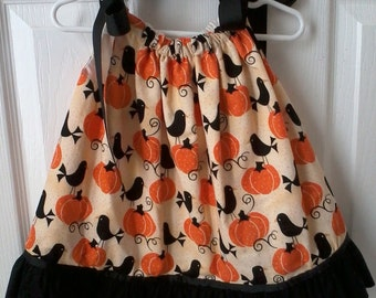 Pumpkins and black birds pillowcase dress with black ruffle, size 12M, fully lined, ready to ship