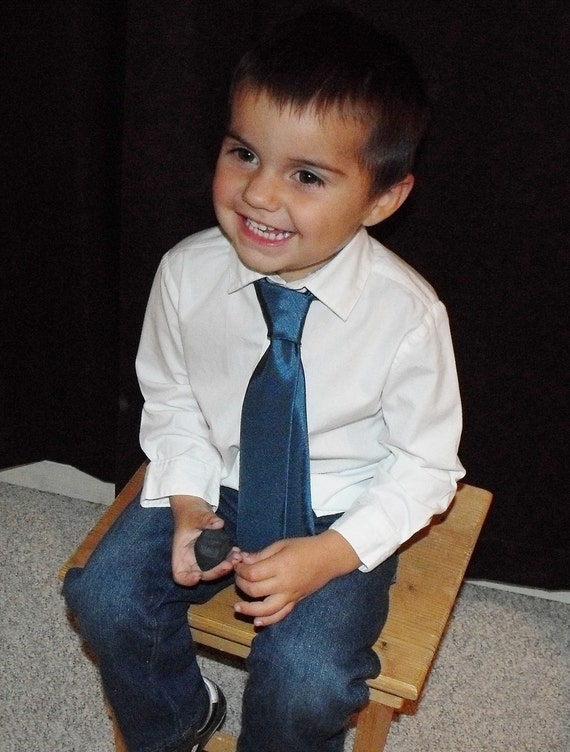 Tie, toddler boy necktie,Teal blue, blue, solid color,  only shiny option available