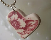 seaglass inspired red floral transferware tumbled heart shaped pottery pendant